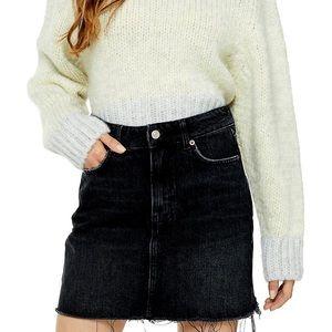 TOPSHOP Black Denim Raw Edge Mini Skirt
